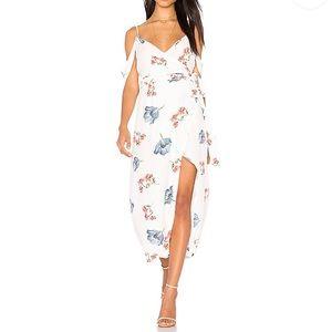 Bardot floral wrap off shoulder dress